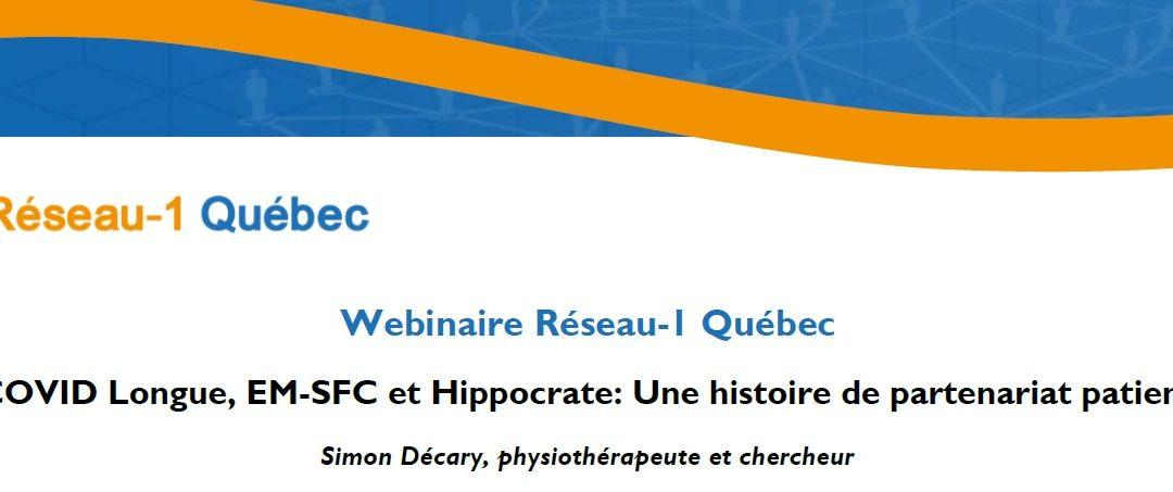 Réseau-1 Québec WEBINAR: Long COVID, ME-CFS and Hippocrates: A history of patient partnership
