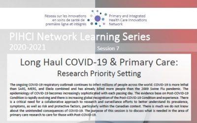 Série d'Apprentissage Virtuel ISSPLI – Séance 7_Le COVID-19 Long & les Soins de Santé Primaire: Établir les Priorités en Recherche